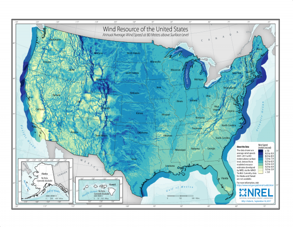 U.S. Wind Resources, Onshore and Offshore 80m